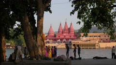 Pilgrims early morning at the Ganga River,Haridwar,India Stock Footage