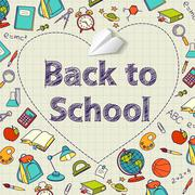 Stock Illustration of Back to school text end  vector doodle