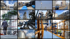 Montage collection of Oil and chemical refinery industrial plant Stock Footage