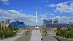 Panoramic view  to the independence monument and independence palace in Astana Stock Footage