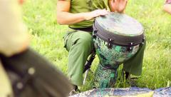 Two Men Skillfully Playing the Drums Stock Footage