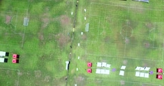 Stock Video Footage of 4K, Drone, Aerial view of Green grass soccer field