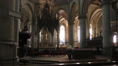 4K footage of the interior of the New Cathedral in Linz, Austria Stock Footage