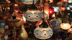 Decorative chandeliers in Grand bazaar. Istanbul, Turkey Stock Footage