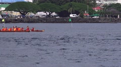 Hilo, Hawaii, women's long outriggers Stock Footage