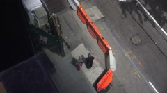 Overhead View Of Roadwork And A Sidewalk In Manhattan New York - stock footage