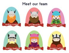 Creative team character set. Vikings, nerds and geeks characters. - stock illustration