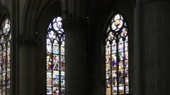 Stained-glass windows of the New Cathedral in Linz, Austria Stock Footage