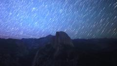 Time Lapse of Star Trails over Half Dome in Yosemite National Park -Long Shot- Stock Footage