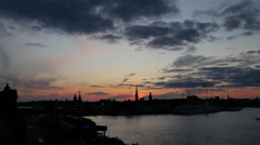 Time lapse from Sunset Stockholm skyline in Sweden Stock Footage