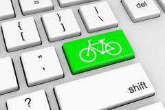 Computer Keyboard with Green Bike Button Illustration Stock Illustration