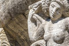 Mythological relief in the Sprudelhof of Bad Nauheim - stock photo