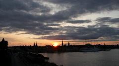 Sunset Stockholm skyline in Sweden Stock Footage