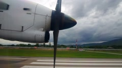 Propeller of aircraft and runway Stock Footage