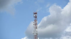 Telecommunication tower on the sky Stock Footage