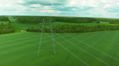 Aerial drone shot of an electricity pylon - stock footage