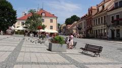 Old Market in Sandomierz, Poland Stock Footage
