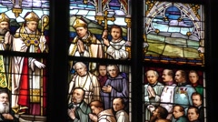One of the stained-glass windows of the New Cathedral in Linz, Austria - stock footage
