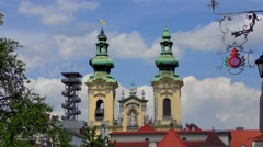 The Church of Saints Michael and Ursula in Linz, Austria Stock Footage