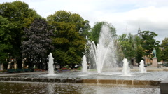 Fountain with National Theatre in the background Oslo Norway Stock Footage
