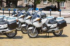 Police motorcycles Stock Photos