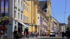 4K footage of the historical city centre in Linz, Austria Stock Footage