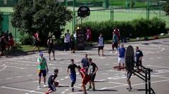 Outdoor street basketball tournament 3x3. Stock Footage