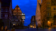 Half-timbered House, Marien-Apotheke, Rothenburg ob der Tauber, Germany Stock Footage