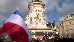 France protests, people gathered together to show their displeasure - stock footage