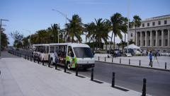PEOPLE TOURIST TRANSPORT TROLLEY - Old San Juan Stock Footage