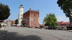 The old market and town hall in Sandomierz, Poland 2 Stock Footage