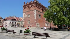 The old market and town hall in Sandomierz, Poland Stock Footage