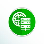 Planet Server icon symbol design workstation world - stock illustration