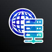 Planet Server icon symbol design workstation world Stock Illustration