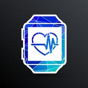 Vector illustration pulsometer heart rate monitor watch icon Piirros