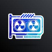 GPU or Computer graphic card icon component - stock illustration