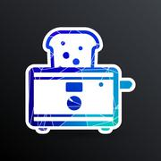 toaster icon isolated slice crust white snack appliance - stock illustration