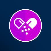 pill icon tablet pain chemistry aspirin isolated - stock illustration