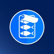 vector icon for tin fish can with ring pull - stock illustration