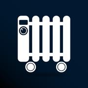 Typical heater filled radiator icon symbol electric - stock illustration