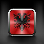 Sovereign state flag of country of Albania in official colors Stock Illustration