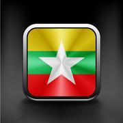 Myanmar flag burma territory state  icon - stock illustration