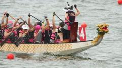 Slow Motion Hong Kong Dragon Boat Carnival Stock Footage