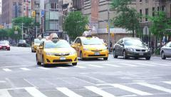 Taxis On The Busy City Streets Of Manhattan New York Stock Footage