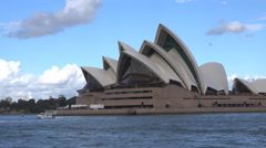 Opera House Sydney from passing boat Stock Footage