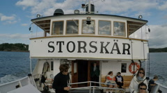 Steamboat Storskär in Stockholm archipelago - 50fps SloMo friendly - stock footage