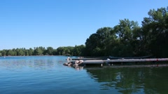 Boat Docks and Beach in Sibbald Point Provincial Park Stock Footage
