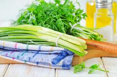 Onion and other greens Stock Photos