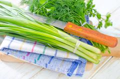 onion and other greens - stock photo