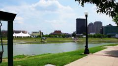Dayton Ohio Riverscape Pan Stock Footage